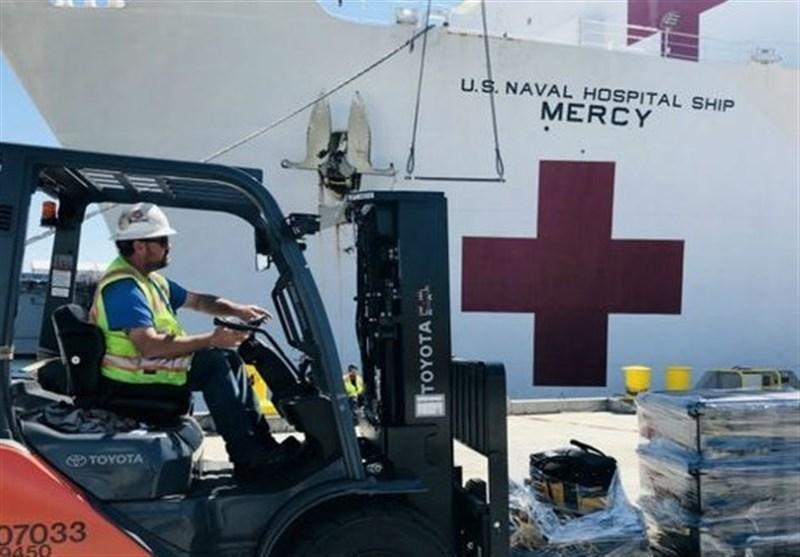 مثبت شدن آزمایش کرونای 7 خدمه کشتی بیمارستانی نیروی دریایی آمریکا
